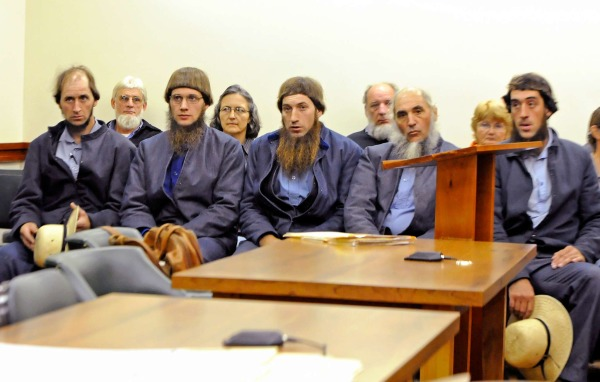 'The Bergholz Boys,' led by Sam Mullet (not pictured) sitting in court in October. (Via The Daily)